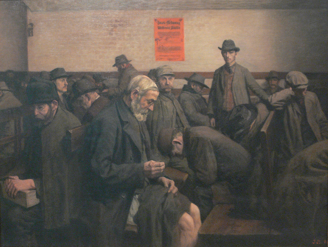 Painting of men in a room