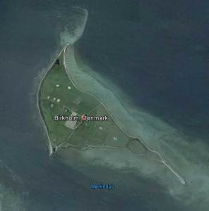 The island, or holm, of Birkholm. (Google Earth)