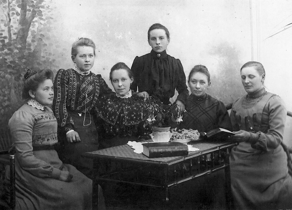 My grandmother Karen, third from left, with fellow seamstressing students